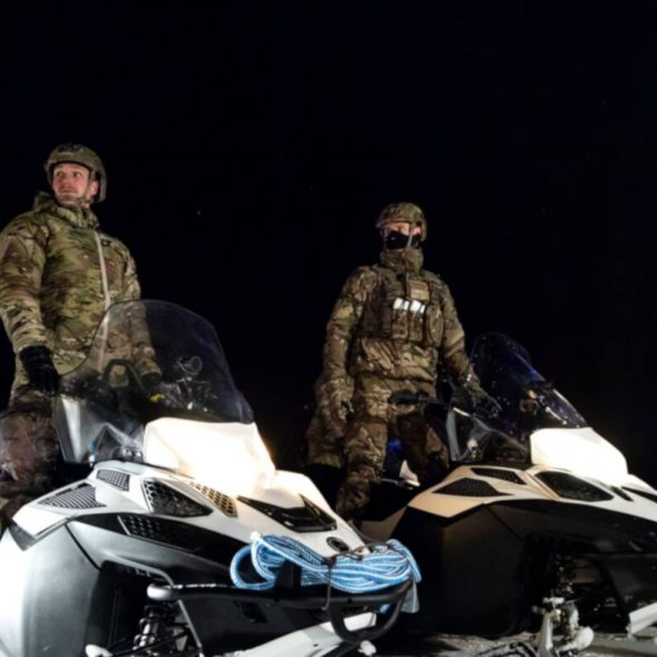Royal Marines on snowmobiles during Ex Cold Response, Norway, 2020